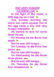 English Worksheet: The very hungry carterpillar story-telling