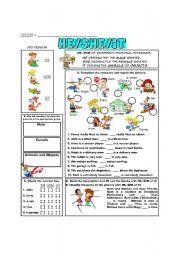 English Worksheet: Grammar Focus: HE/SHE/IT