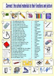 English worksheet: Match school materials to their functions