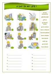 English Worksheets: A day in my life !