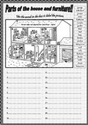 English Worksheet: PARTS OF THE HOUSE AND PIECES OF FURNITURE!! Part I
