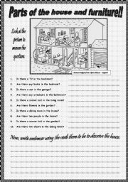 English Worksheet: PARTS OF THE HOUSE AND PIECES OF FURNITURE!! PART II