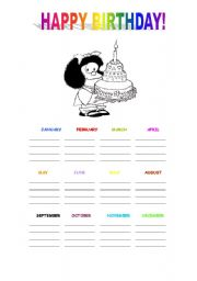 English Worksheet: Happy Birthday Mafalda