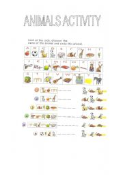English Worksheets: Animals Activity (2)
