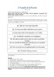 English Worksheets: El Espa�ol de la Histor�a (Top 50 Spaniards)