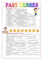 English Worksheet: Past Tenses (Review)