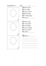 English Worksheets: Describing a face with easy adjcetives_ kids have fun drawing too