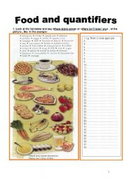 English Worksheets: I part - Food and quantifiers