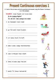 Printables Present Progressive Worksheets english teaching worksheets present continuousprogressive continuous exercises 1