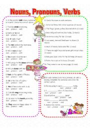 English Worksheets: Nouns, Pronouns, and Verbs