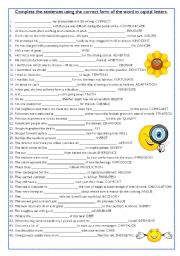 English Worksheets: Word formation exercise (2)
