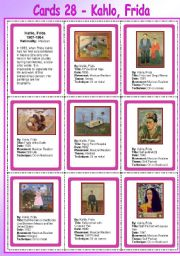 Printables Frida Kahlo Worksheets english worksheets conversation resources page 167 cards 28 kahlo frida