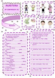 English Worksheet: ADJECTIVES OF COMPARISON  -  4th ws