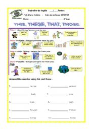 English Worksheets: this, these, that, those and hours quarter and past