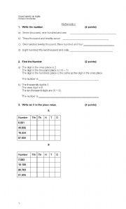 English worksheet: Mathematics in English