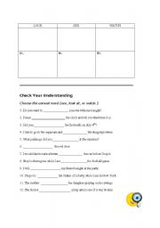English Worksheets: Look, See, or Watch?