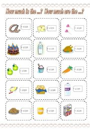 English Worksheets: How much is the ...? How much are the ...? GAME (2) (3 PAGES)
