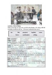 English Worksheet: Twilight Introductions (first 15 min of Twilight movie)