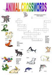 English Worksheet: ANIMAL CROSSWORDS