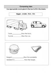 English Worksheets: comparing things