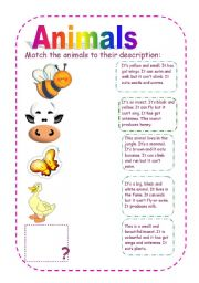 English Worksheets: Animal�s descriptions
