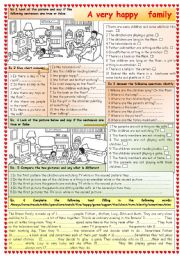 English Worksheets: A very happy family