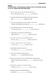 English worksheet: Comparatives and Superlatives Rewriting