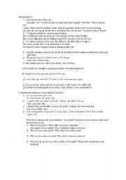 English Worksheet: Modal Perfect