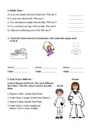 English Worksheets: page 2 of My body