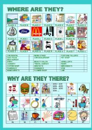 English Worksheets: WHERE ARE THEY AND WHY ARE THEY THERE?