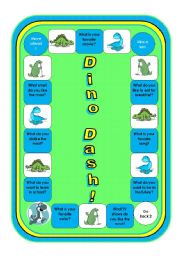 English Worksheets: Dino Dash (with 128 mini word strips and some simple questions on the board)