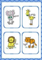 English Worksheets: Zoo friends flash cards (15 cards)