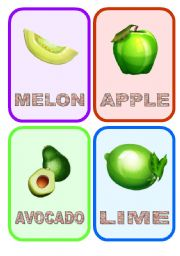 English Worksheet: Fruit flashcards