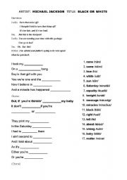 English Worksheets: MICHAEL JACKSON - BLACK OR WHITE