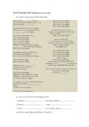 English Worksheet: Song Don´t worry be happy by Bob Marley
