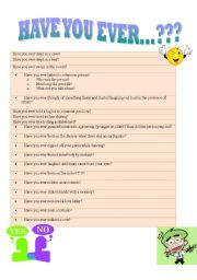 English Worksheets: HAVE YOU EVER