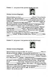 English Worksheets: Michael Jackson Info-Gap