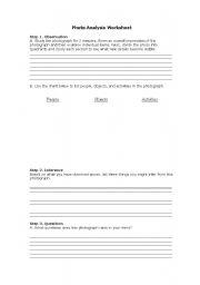 English Worksheets: photo analysis worksheet