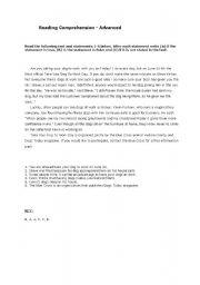 English Worksheets: Reading Comprehension - Advanced