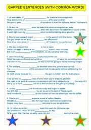 English Worksheets: COMMON WORD (FOR ADVANCED LEVELS)