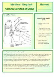 English Worksheets: medical english - achilles tendon injuries