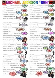 English Worksheet: *BEN* (MICHAEL JACKSON -  R.I.P.)
