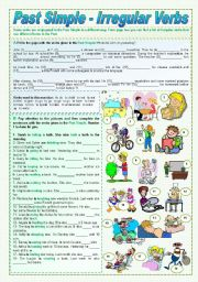 English Worksheet: Past Simple - Irregular Verbs (with a complete list of irregular past and participle)