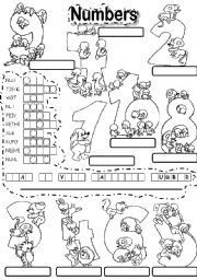 English Worksheet: NUMBERS PUZZLE