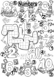 English Worksheet: NUMBERS CRISS CROSS PUZZLE