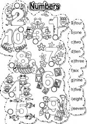 English Worksheets: NUMBERS MATCH - FALLEN PHRASES AND LETTER TILES