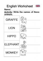 English Worksheets: JUNGLE ANIMALS