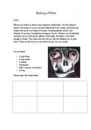 English Worksheets: Making a Pinata