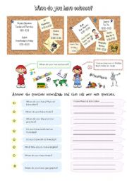English Worksheet: When do you have science?