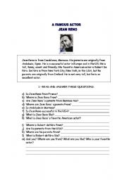 English Worksheets: Jean Reno - a famous actor